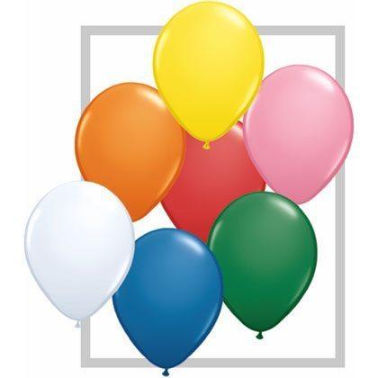 "11"" Qualatex Latex Balloon - Standard Assortment w/White | HICO"