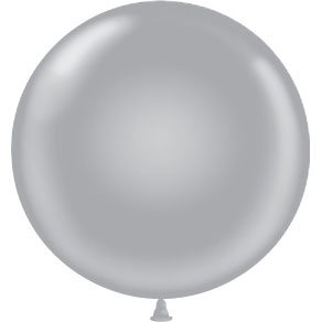 "17"" Tuf-Tex Latex Round Balloon - Silver 