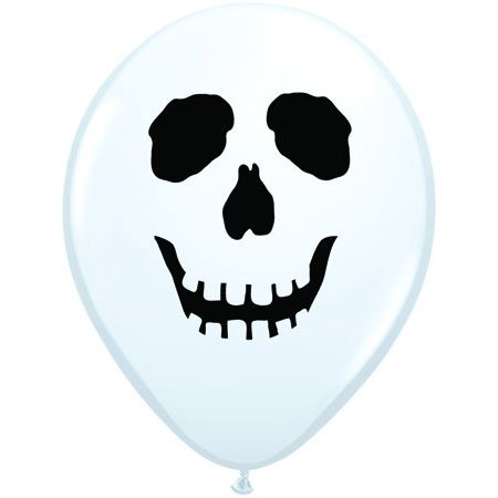 "5"" Qualatex Latex Round Balloon White Skull Imprint 
