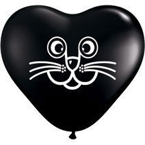 "6"" Qualatex Latex Heart Balloon Cat Face Imprint - Black 