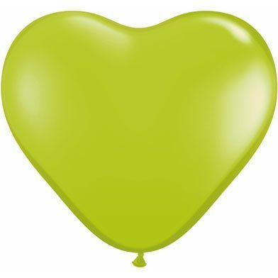 "6"" Qualatex Latex Heart Balloon - Lime Green 
