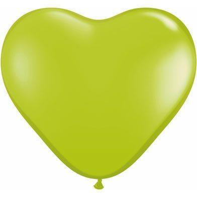 "6"" Qualatex Latex Heart Balloon - Lime Green | HICO"