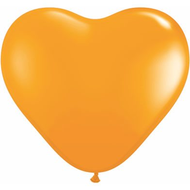 "6"" Qualatex Latex Heart Balloon - Orange 