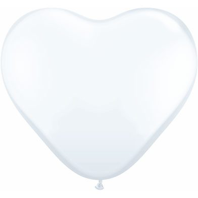 "6"" Qualatex Latex Heart Balloon - White 
